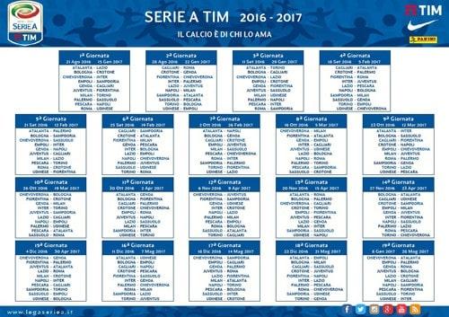 Calendario Calcio.Calendario Serie A 2016 2017 Date Partite Fantacalcio