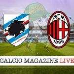 Sampdoria Milan cronaca diretta risultato in tempo reale