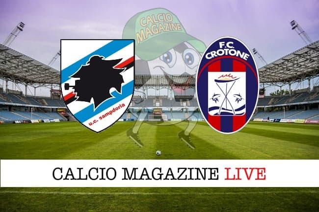 Sampdoria-Crotone: probabili formazioni, cronaca e risultato in tempo reale