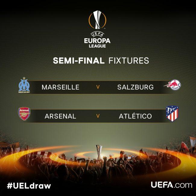 Europa League: Arsenal-Atletico Madrid e Salisburgo-Marsiglia