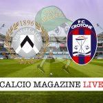 Udinese Crotone diretta tabellino risultato tempo reale