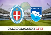 Novara Pescara cronaca diretta risultato tempo reale