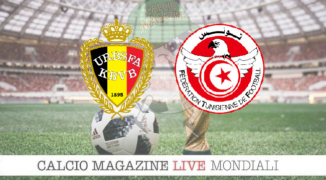 Belgio Tunisia cronaca diretta risultato in tempo reale