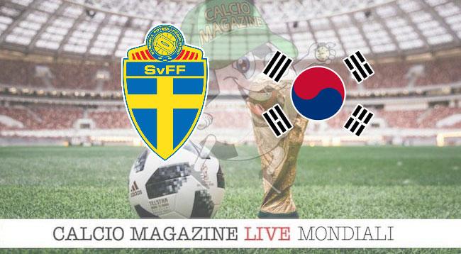 Svezia Corea del sud cronaca diretta risultato in tempo reale