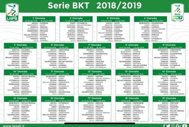 Calendario Serie Aa.Calendario Serie B 2018 2019 Orari Soste E Turni