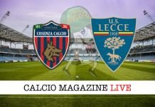 Cosenza Lecce cronaca diretta live risultato in tempo reale