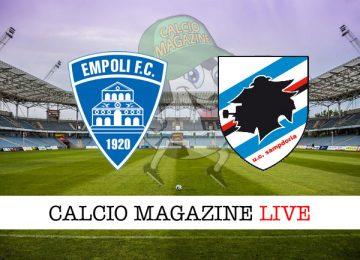 Empoli Sampdoria cronaca diretta risultato in tempo reale