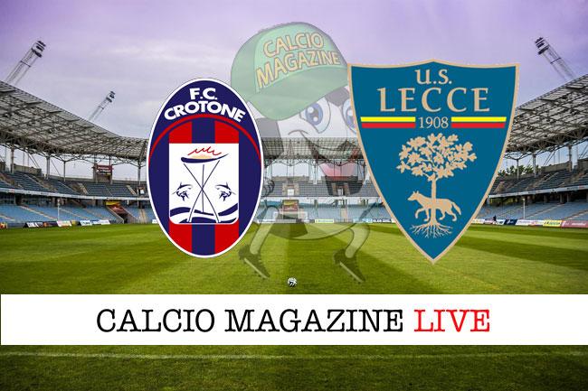 Crotone Lecce cronaca diretta live risultato in tempo reale