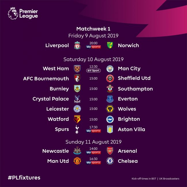 Calendario Campionato Portoghese.Premier League 2019 2020 Il Calendario Completo