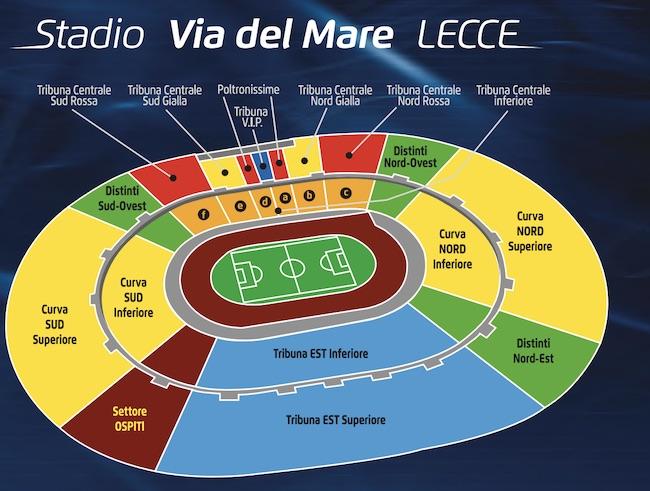 mappa stadio via del mare Lecce