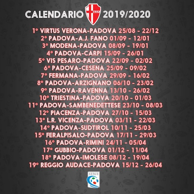 Calendario Partite Calcio Serie A.Calendario Padova 2019 2020