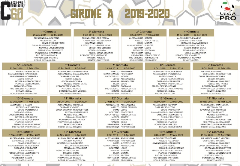 Calendario Partite Calcio Serie A.Calendario Serie C 2019 2020 Girone A