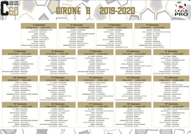 Calendario Serie A 1 Giornata.Calendario Serie C 2019 2020 Girone B