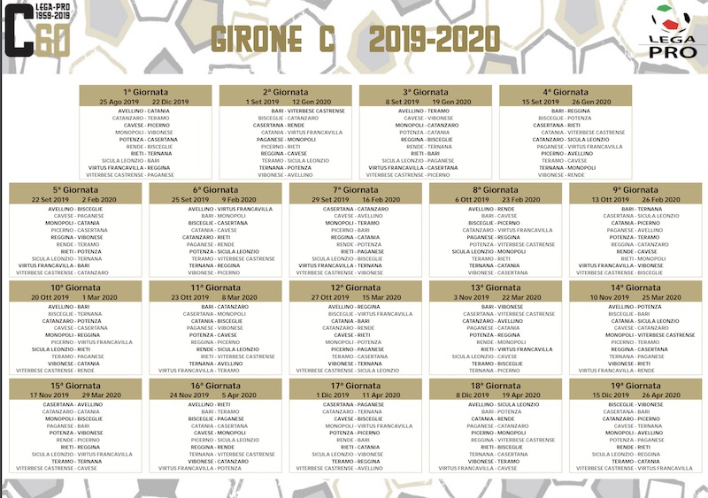 Calendario 2020 Tascabile.Calendario Serie C 2020 Calendario 2020