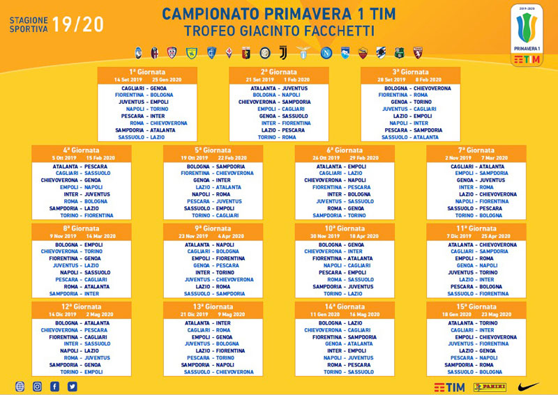 Calendario Empoli Calcio.Calendario Primavera 1 Tim 2019 2020