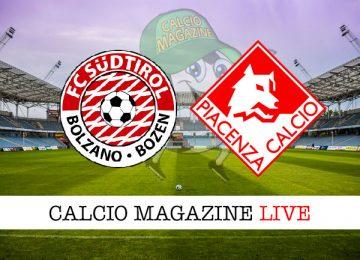 Sudtirol Piacenza cronaca diretta live risultato in tempo reale