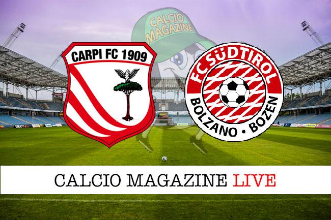 Carpi Sudtirol cronaca diretta live risultato in tempo reale