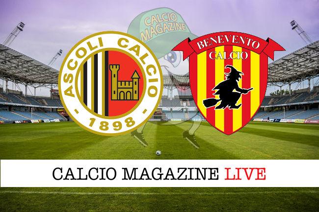 Ascoli Benevento cronaca diretta live risultato in tempo reale