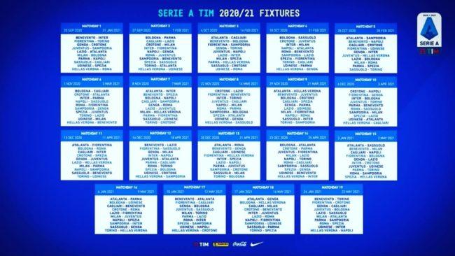Serie A 2020/2021: il calendario completo dalla 1.ma alla 38.ma