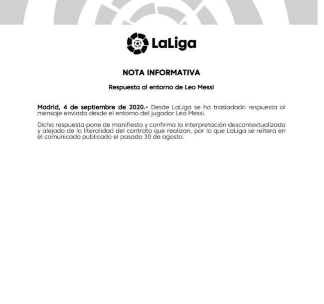 "La Liga risponde a Jorge Messi: ""Clausola assolutamente valida"""