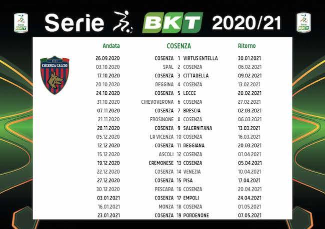 Calendario Cosenza 2020/2021: tutte le partite