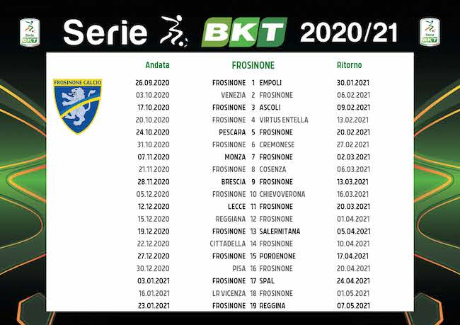Calendario Frosinone 2020/2021: tutte le partite