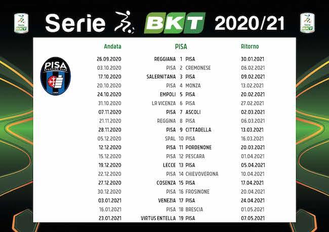 Calendario Pisa 2020/2021: tutte le partite | Calciomagazine