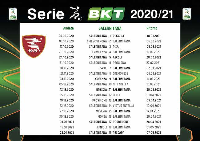 Calendario Salernitana 2020/2021: tutte le partite | Calciomagazine