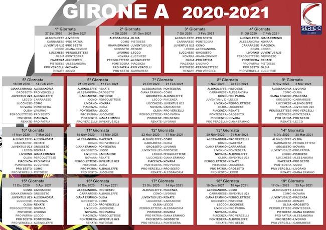 calendario serie c girone a 2020-2021