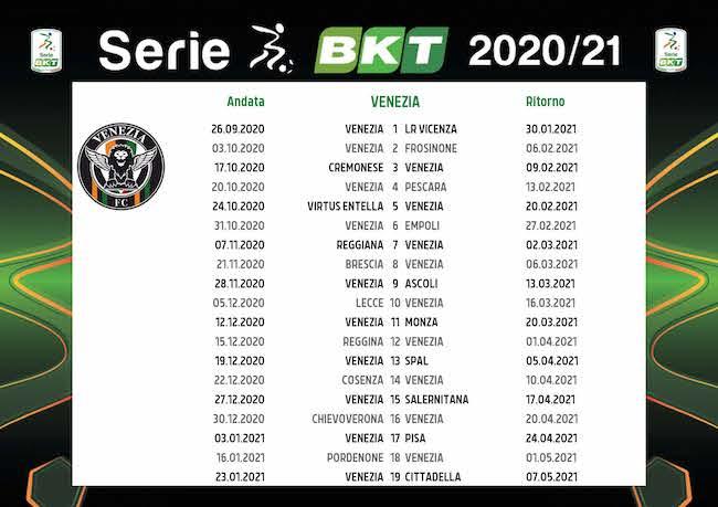 Calendario Venezia 2020/2021: tutte le partite