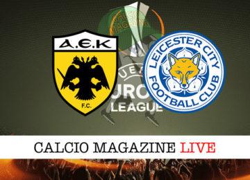 AEK Atene Leicester cronaca diretta live risultato in tempo reale