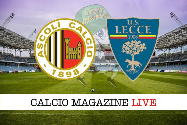 Ascoli Lecce cronaca diretta live risultato in tempo reale
