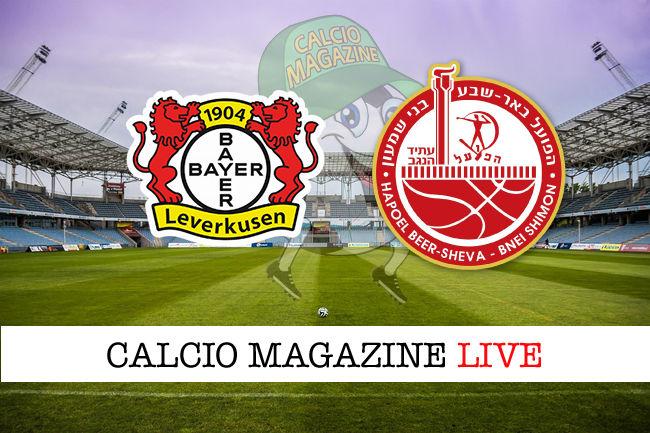 Leverkusen H. Beer Sheva cronaca diretta live risultato in tempo reale