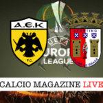 AEK Atene Sporting Braga cronaca diretta live risultato in tempo reale