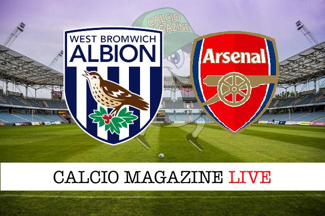 West Bromwich Arsenal cronaca diretta live risultato in tempo reale