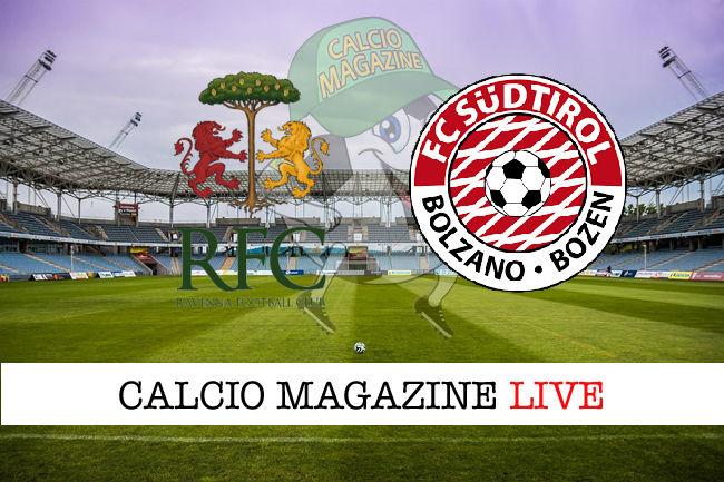 Sudtirol Ravenna cronaca diretta live risultato in tempo reale