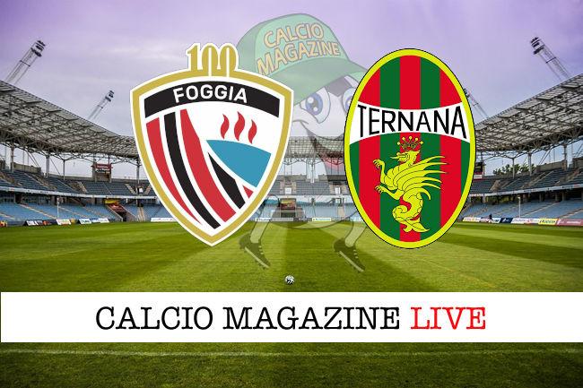 Foggia Ternana cronaca diretta live risultato in tempo reale