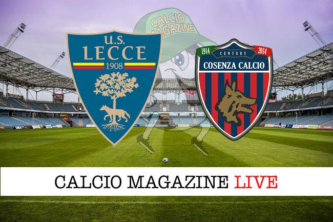 Lecce Cosenza cronaca diretta live risultato in tempo reale