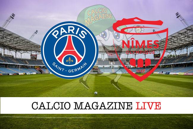 PSG Nimes Olympique cronaca diretta live risultato in tempo reale