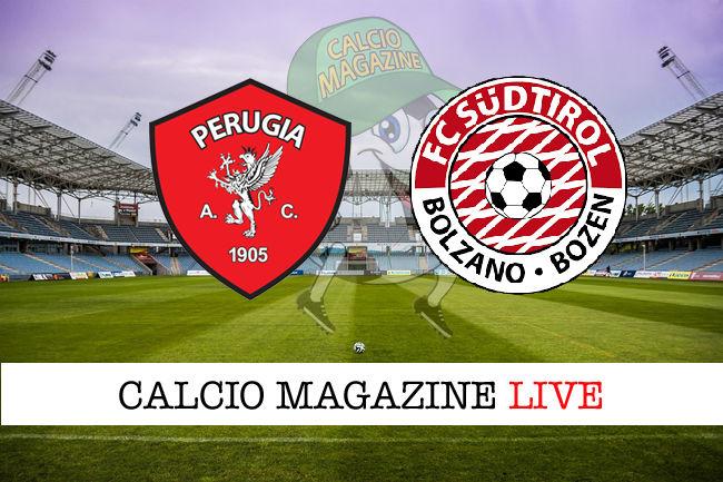 Perugia - Sudtirol cronaca diretta live risultato in tempo reale