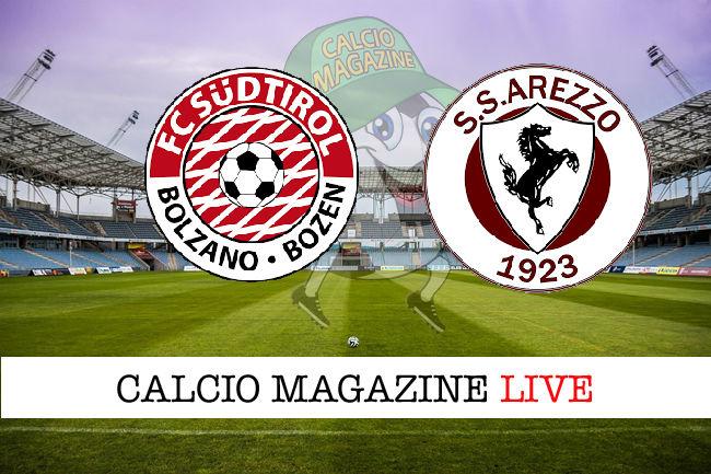 Sudtirol - Arezzo cronaca diretta live risultato in tempo reale