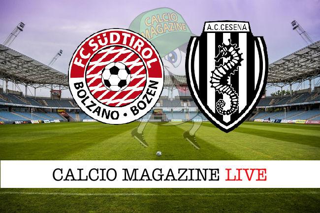 Sudtirol Cesena cronaca diretta live risultato in tempo reale