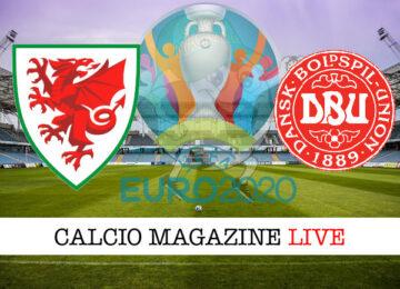 Galles Danimarca Euro 2020 cronaca diretta live risultato in tempo reale