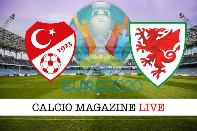Turchia Galles Euro 2020 cronaca diretta live risultato in tempo reale
