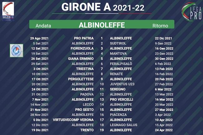 calendario albinoleffe 2021-2022