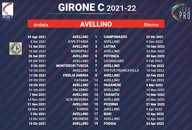 calendario avellino 2021-2022