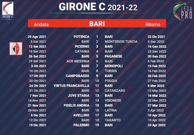 calendario bari 2021-2022