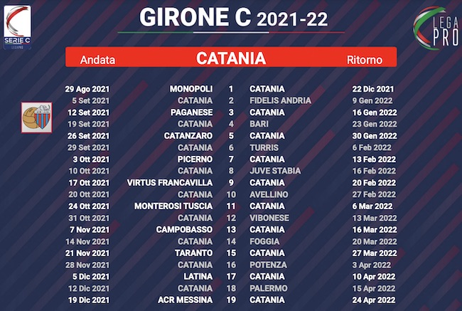 calendario catania 2021-2022
