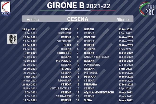 calendario cesena 2021-2022