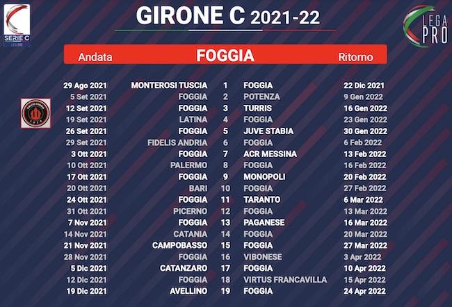 calendario foggia 2021-2022